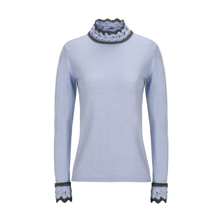 CARAMELO Jersey azulón detalle cuello y puños 99€
